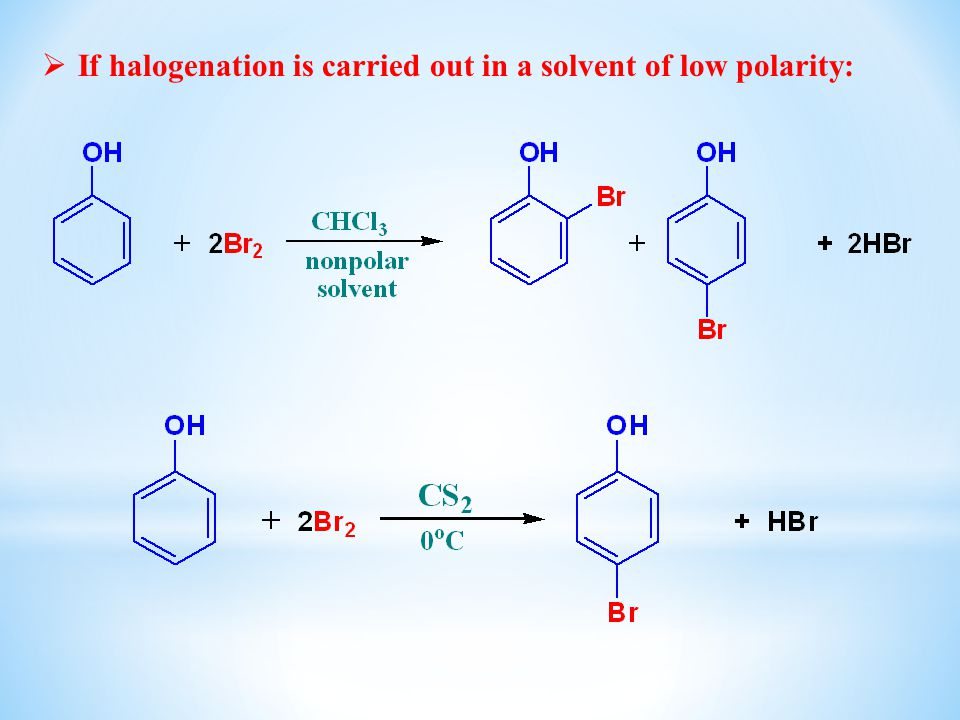 If halogenation is carried out in a solvent of low polarity: