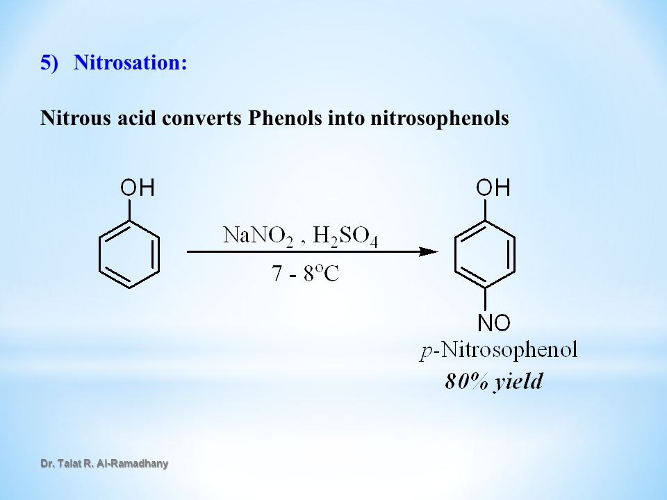 Nitrous acid converts Phenols into nitrosophenols