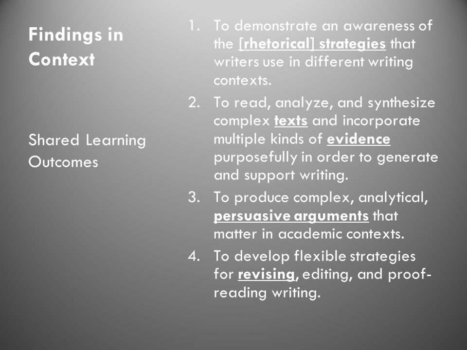 Findings in Context Shared Learning Outcomes