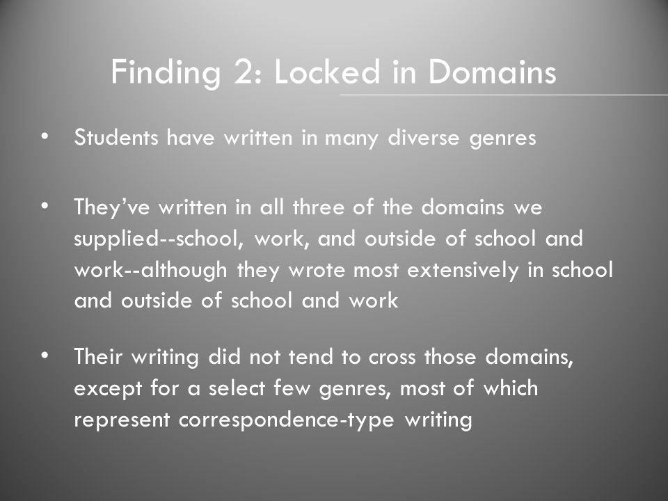 Finding 2: Locked in Domains