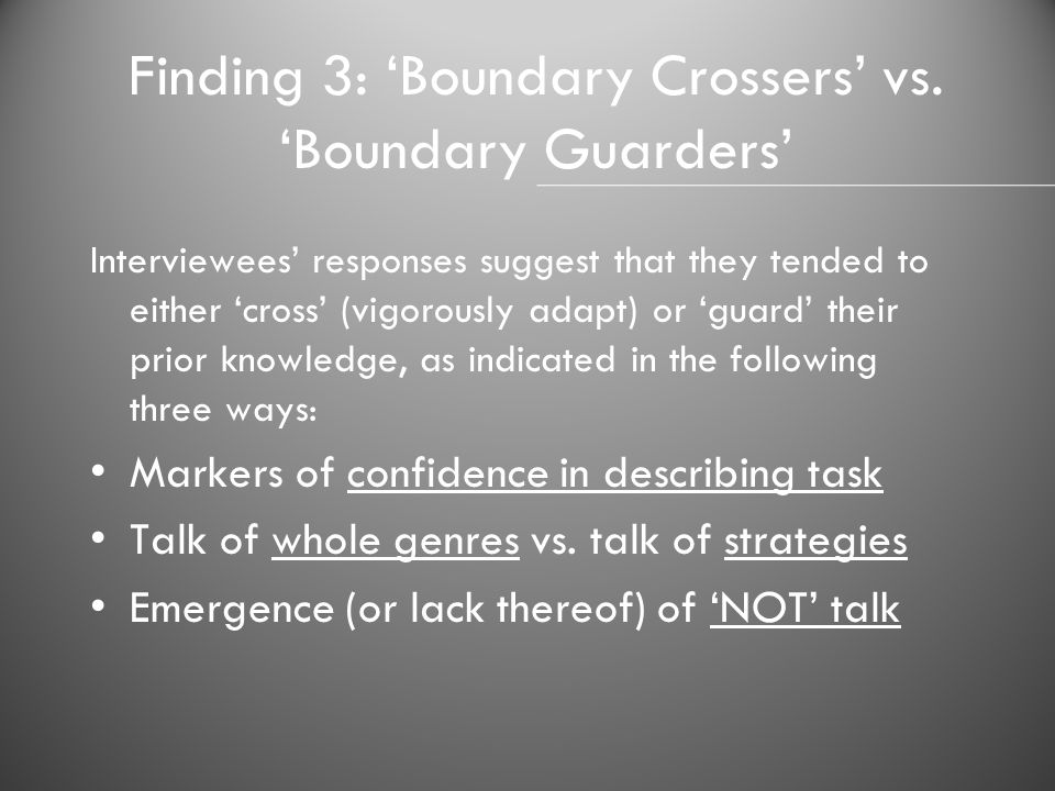 Finding 3: 'Boundary Crossers' vs. 'Boundary Guarders'