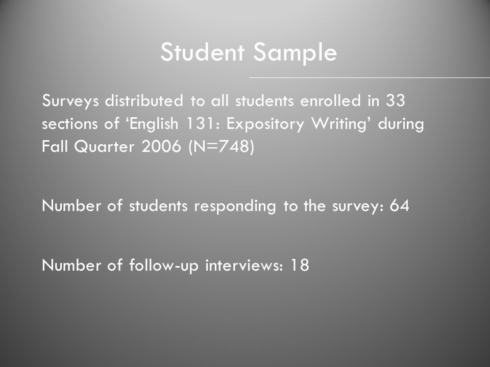Student Sample Surveys distributed to all students enrolled in 33 sections of 'English 131: Expository Writing' during Fall Quarter 2006 (N=748)