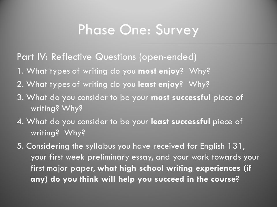 Phase One: Survey Part IV: Reflective Questions (open-ended)
