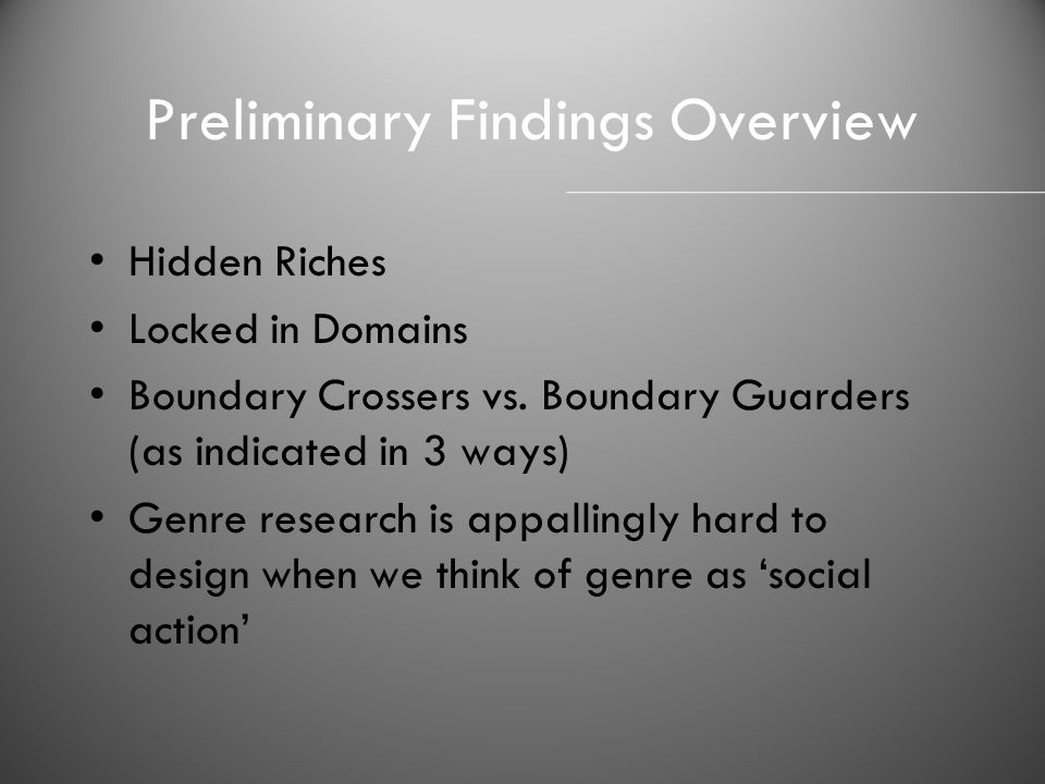 Preliminary Findings Overview