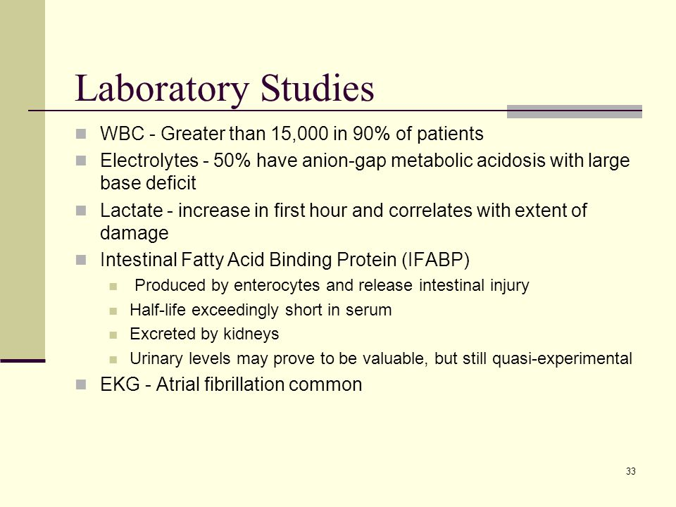 Laboratory Studies WBC - Greater than 15,000 in 90% of patients