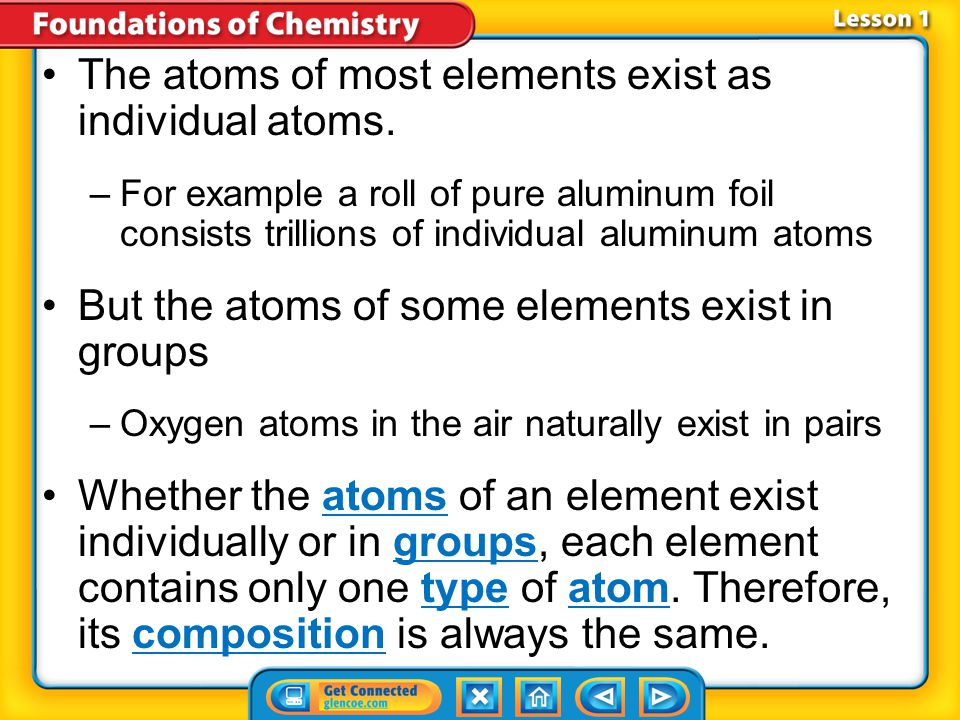The atoms of most elements exist as individual atoms.