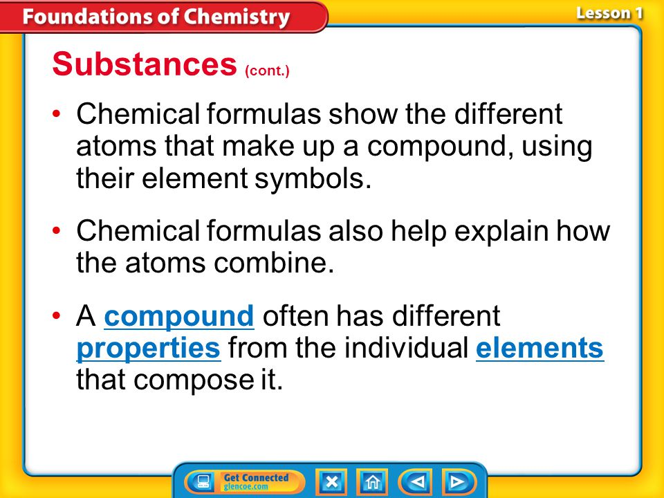Substances (cont.) Chemical formulas show the different atoms that make up a compound, using their element symbols.