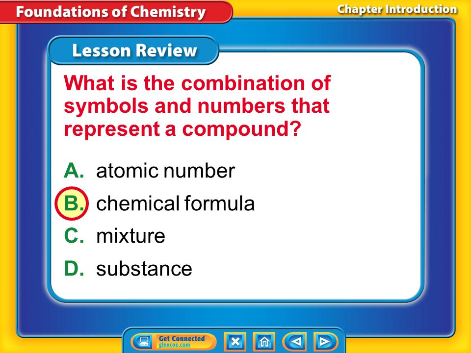 What is the combination of symbols and numbers that represent a compound