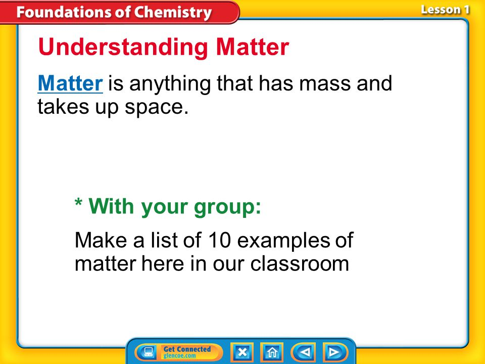 Understanding Matter Matter is anything that has mass and takes up space. * With your group: