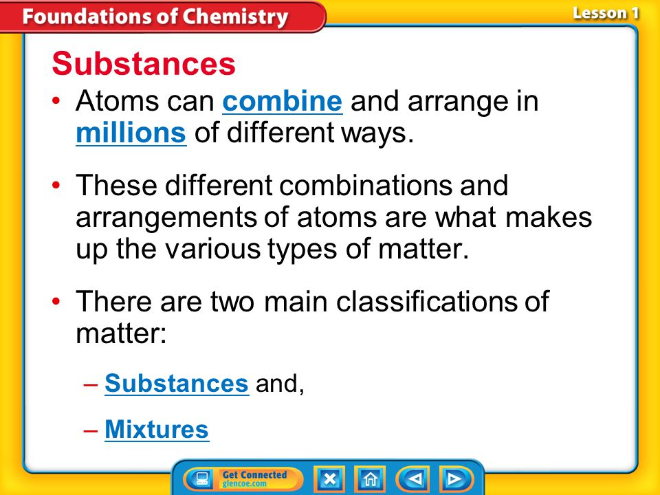 Substances Atoms can combine and arrange in millions of different ways.