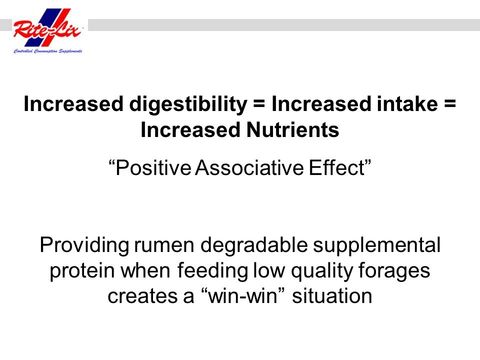 Increased digestibility = Increased intake = Increased Nutrients