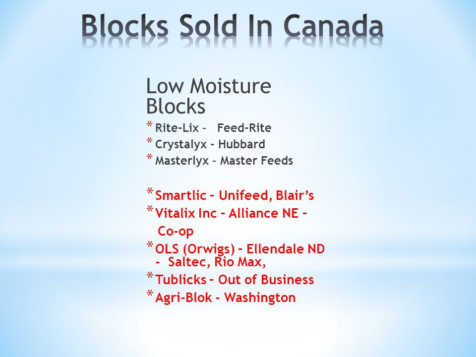 Blocks Sold In Canada Low Moisture Blocks Smartlic – Unifeed, Blair's
