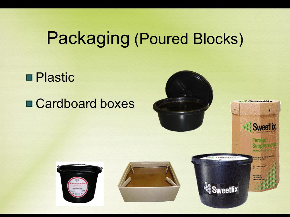 Packaging (Poured Blocks)