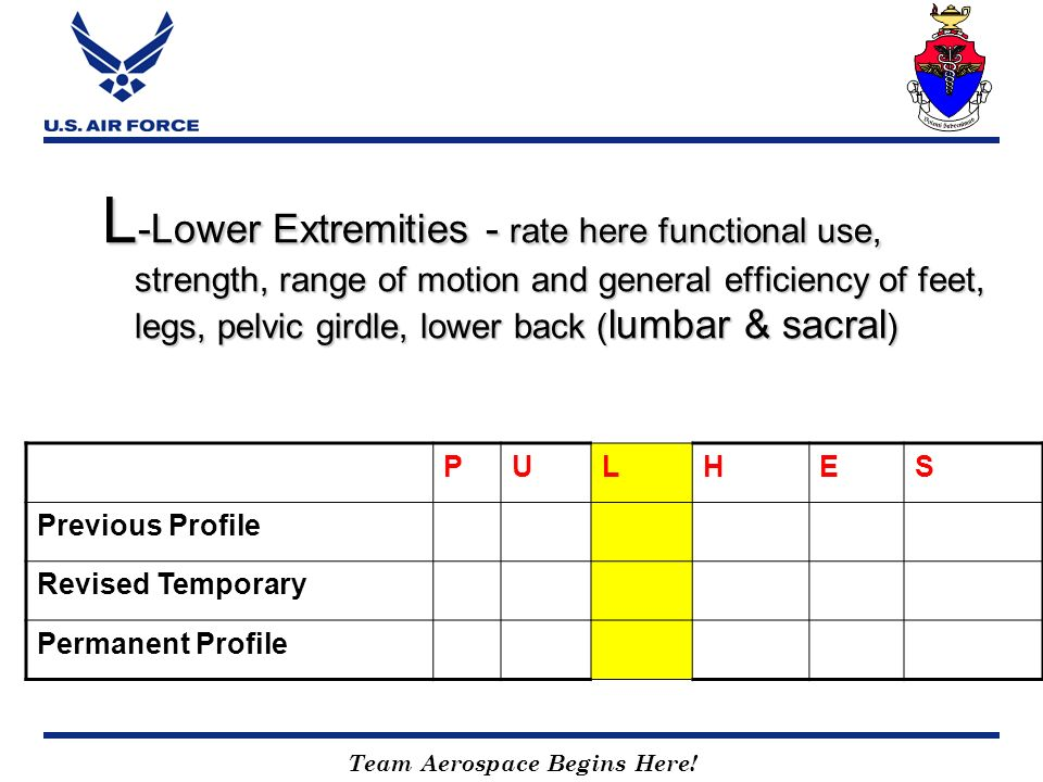L-Lower Extremities - rate here functional use, strength, range of motion and general efficiency of feet, legs, pelvic girdle, lower back (lumbar & sacral)