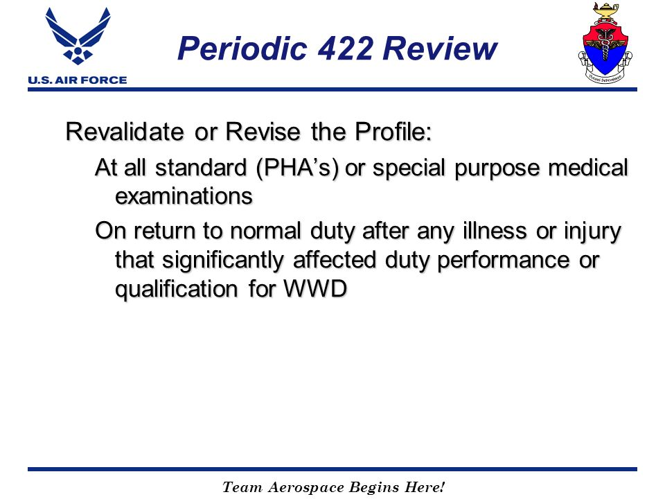 Periodic 422 Review Revalidate or Revise the Profile: