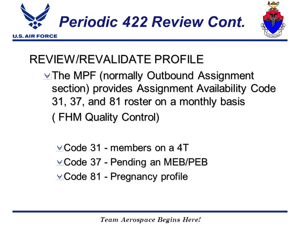 Periodic 422 Review Cont. REVIEW/REVALIDATE PROFILE