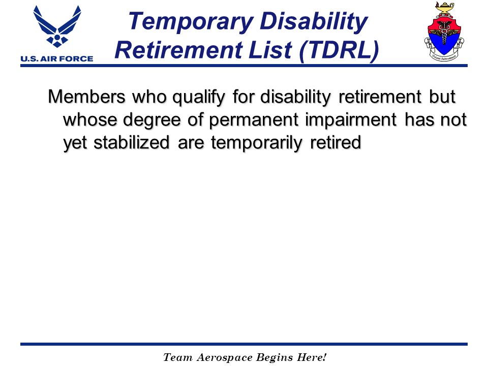 Temporary Disability Retirement List (TDRL)