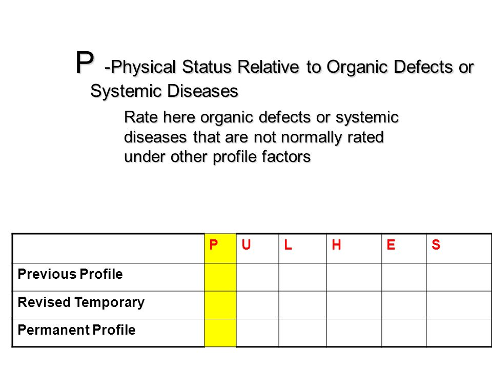 P -Physical Status Relative to Organic Defects or Systemic Diseases