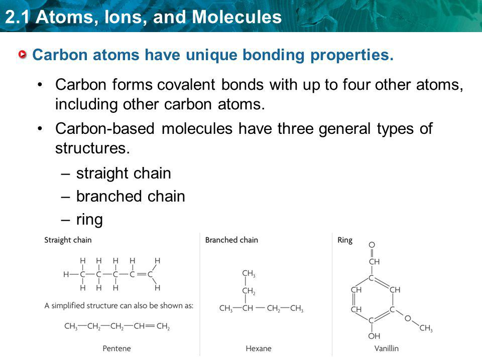 Carbon atoms have unique bonding properties.