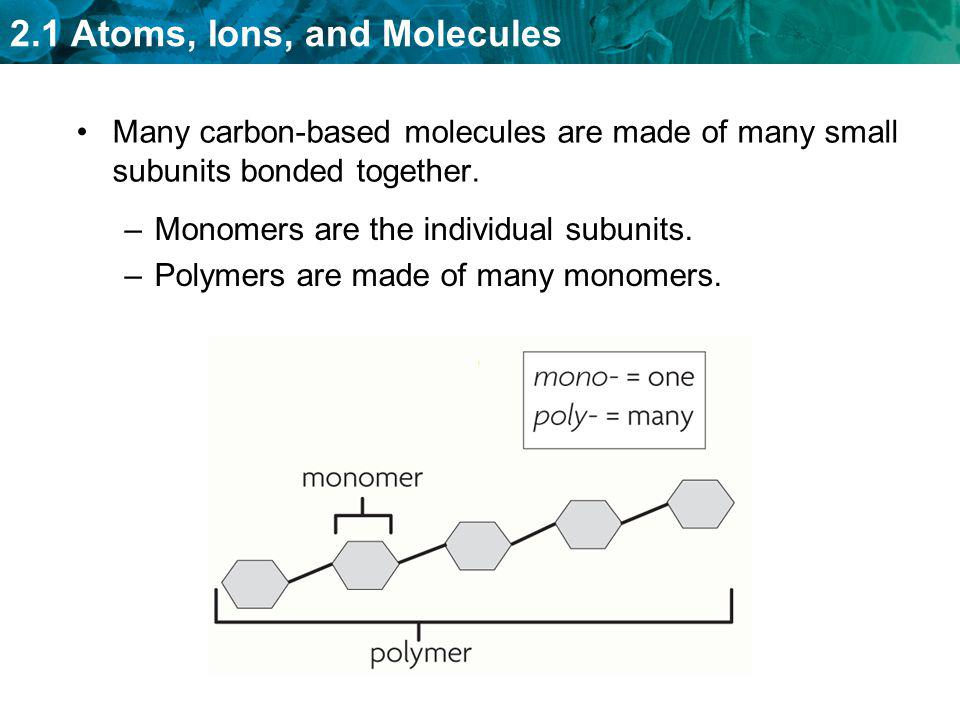 Many carbon-based molecules are made of many small subunits bonded together.
