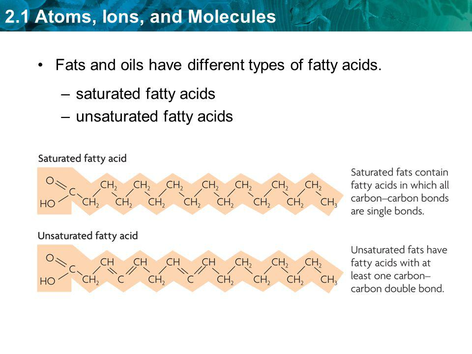 Fats and oils have different types of fatty acids.