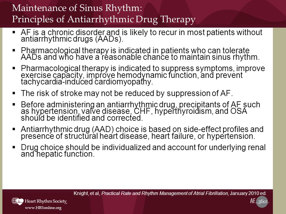 Maintenance of Sinus Rhythm: Principles of Antiarrhythmic Drug Therapy
