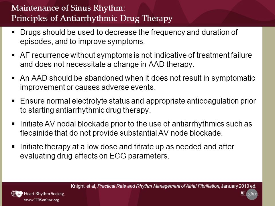 Maintenance of Sinus Rhythm: Principles of Antiarrhythmic Drug Therapy