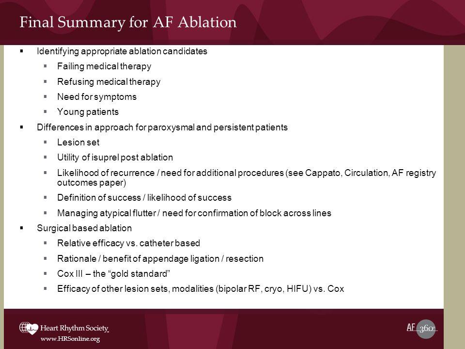 Final Summary for AF Ablation