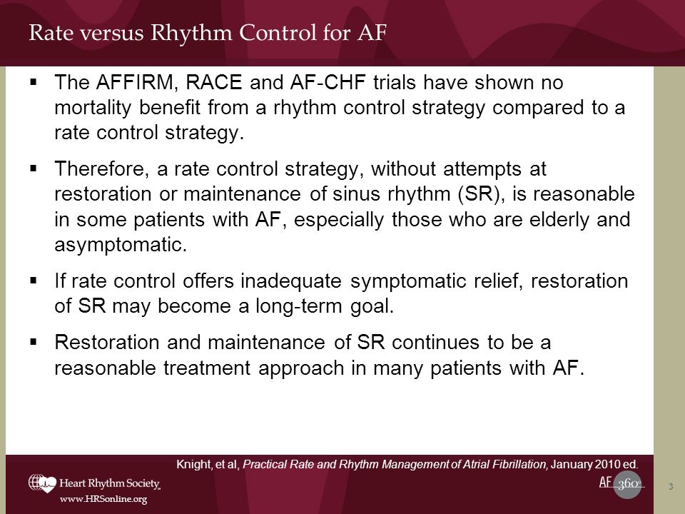 Rate versus Rhythm Control for AF