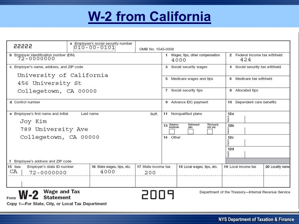 W-2 from California 96-0000001 45-60000000 4000.00 420.00 2009