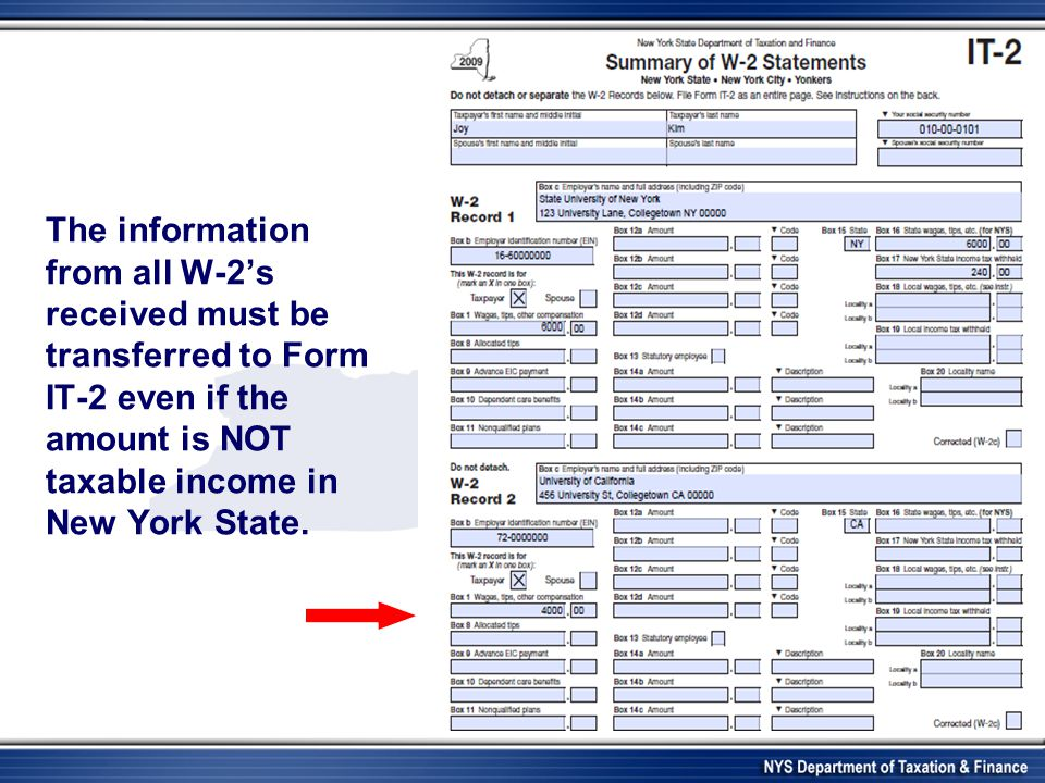 The information from all W-2's received must be transferred to Form IT-2 even if the amount is NOT taxable income in New York State.