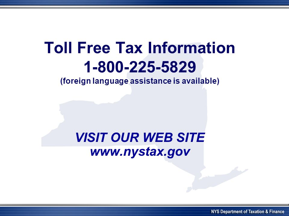 VISIT OUR WEB SITE www.nystax.gov