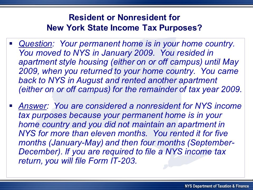 Resident or Nonresident for New York State Income Tax Purposes