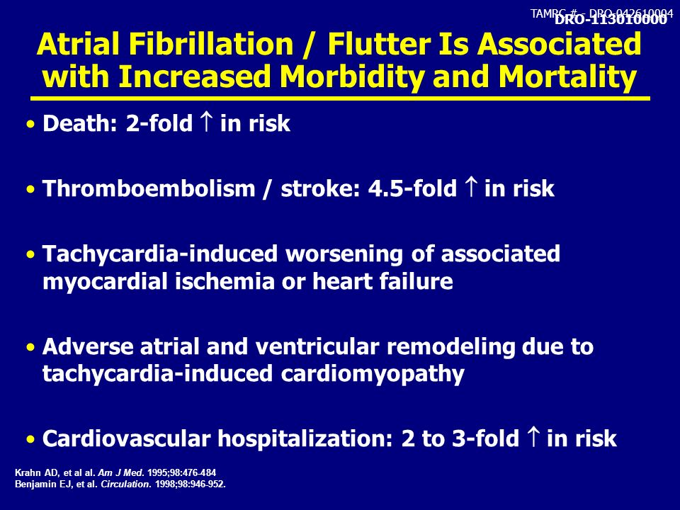 DRO-113010000 Atrial Fibrillation / Flutter Is Associated with Increased Morbidity and Mortality. Death: 2-fold  in risk.