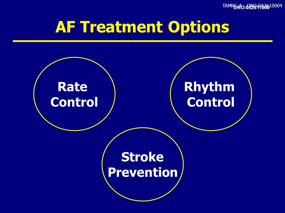 AF Treatment Options Rate Control Rhythm Stroke Prevention