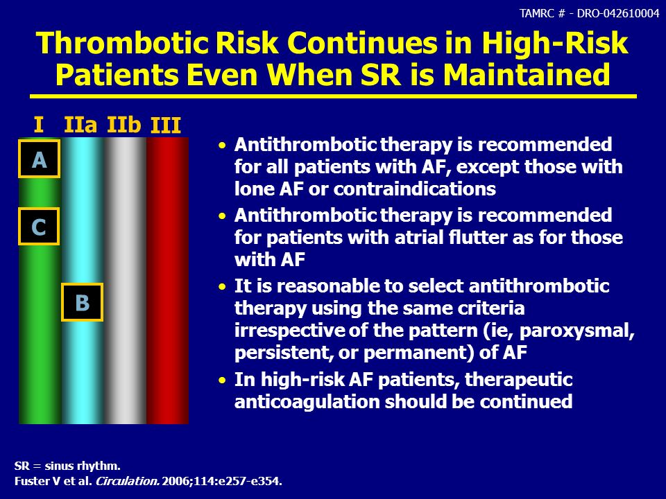 Thrombotic Risk Continues in High-Risk Patients Even When SR is Maintained