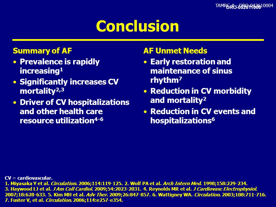 Conclusion Summary of AF Prevalence is rapidly increasing1