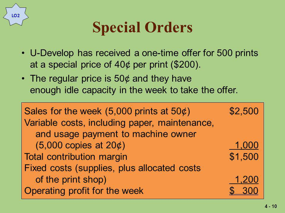Special Orders U-Develop has received a one-time offer for 500 prints