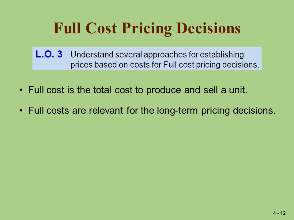Full Cost Pricing Decisions