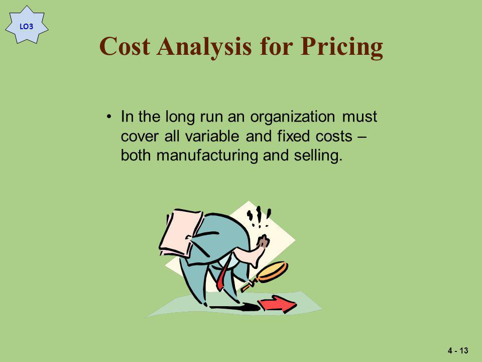 Cost Analysis for Pricing