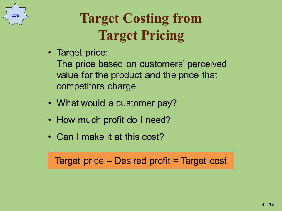 Target Costing from Target Pricing
