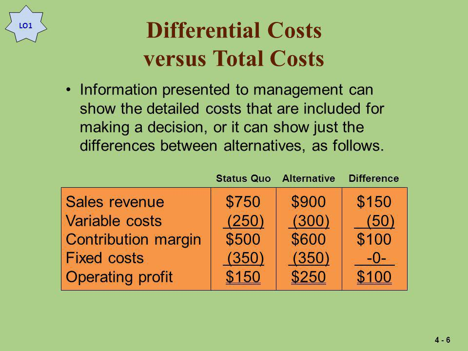 Differential Costs versus Total Costs