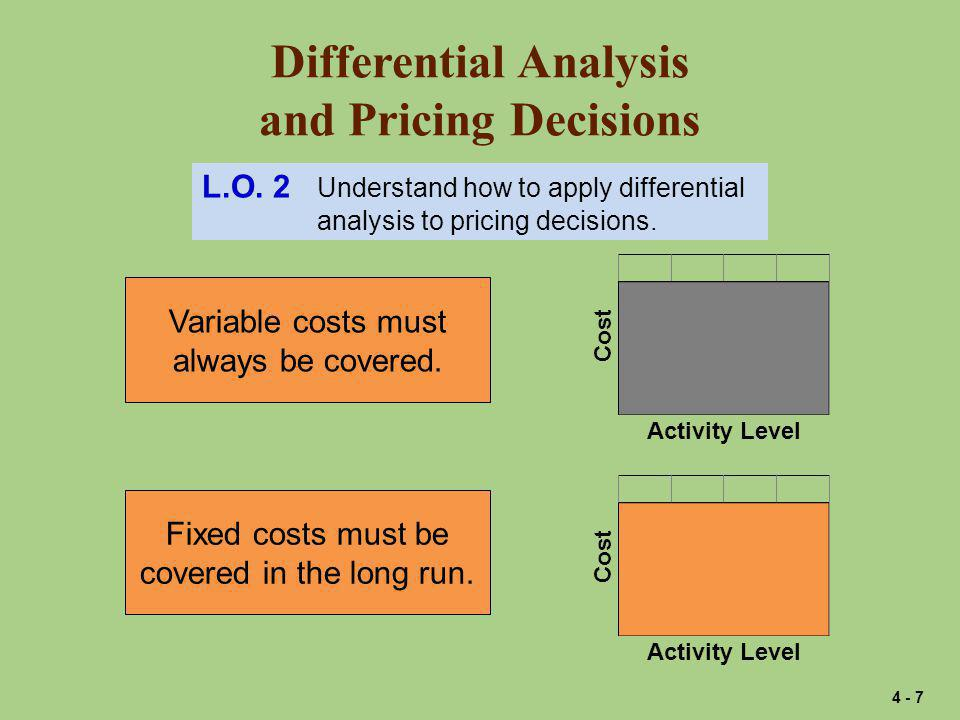 Differential Analysis and Pricing Decisions