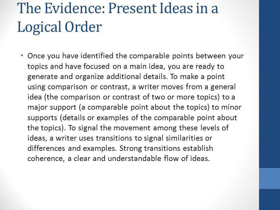 The Evidence: Present Ideas in a Logical Order