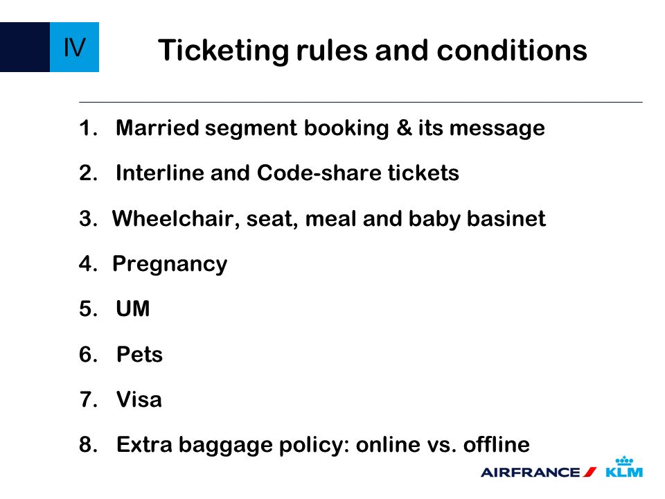 Ticketing rules and conditions