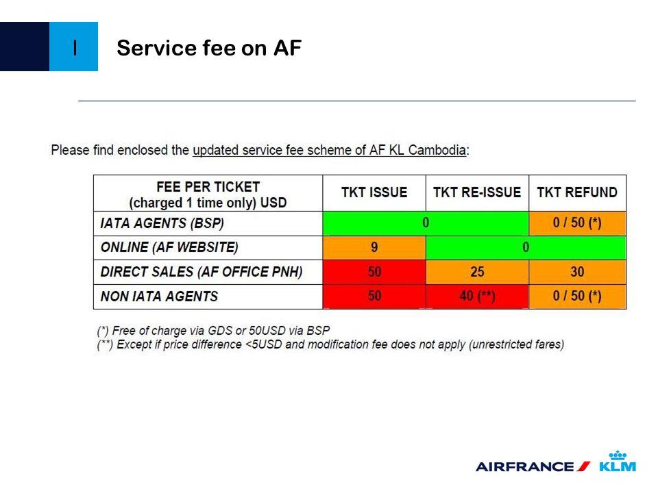 Service fee on AF I