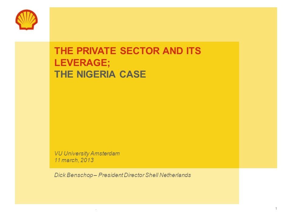 The private sector and its leverage; the Nigeria case VU University Amsterdam 11 march, 2013