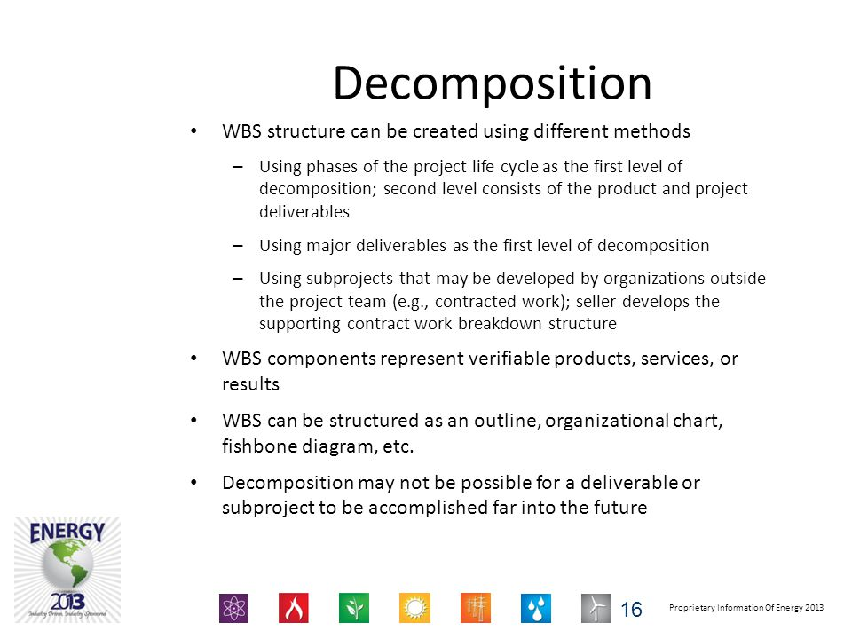 Decomposition WBS structure can be created using different methods