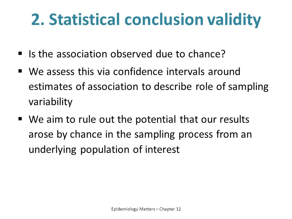2. Statistical conclusion validity