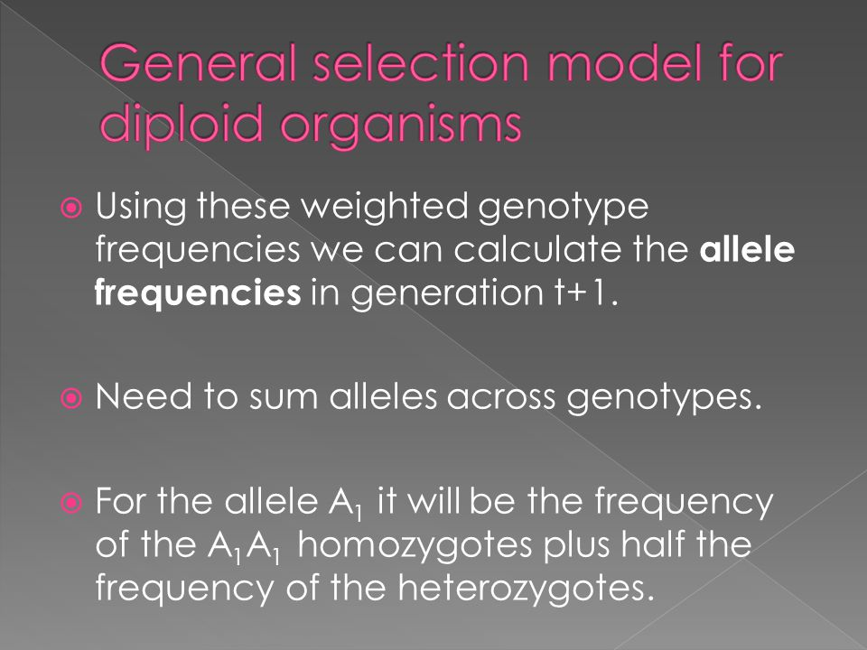 General selection model for diploid organisms